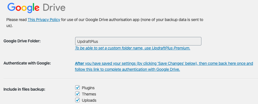 Backing up your small business website with Updraft Plus